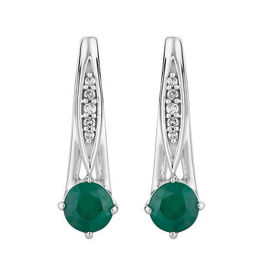 1/7 CT. T.W. Genuine Green Emerald 10K White Gold Drop Earrings