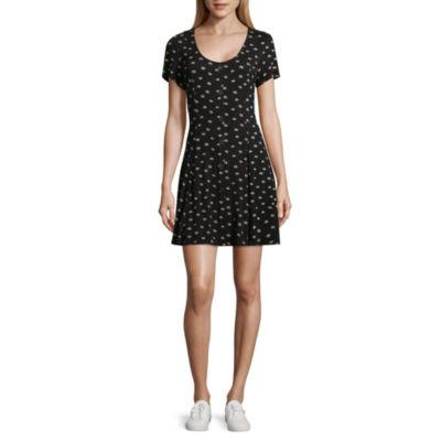 Rewind Short Sleeve Dots Fit & Flare Dress-Juniors
