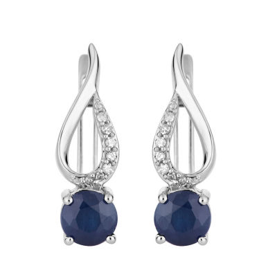 Diamond Accent Genuine Blue Sapphire 10K White Gold Drop Earrings