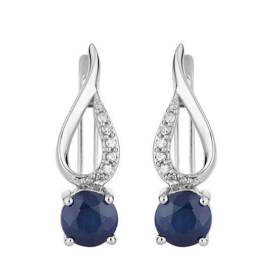 Diamond Accent Genuine Blue Sapphire 10K White Gold Drop Earrings