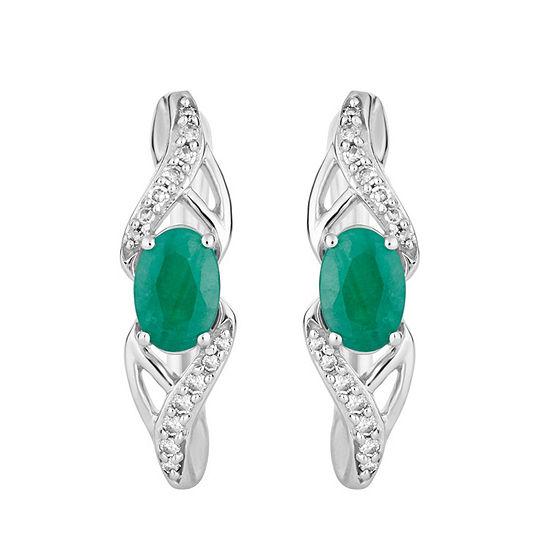 Diamond Accent Genuine Green Emerald 10k White Gold Drop Earrings