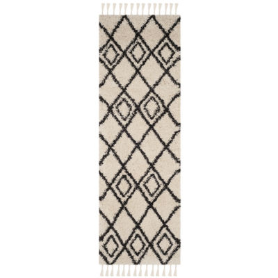 Safavieh Moroccan Fringe Shag Collection Aidan Geometric Runner Rug