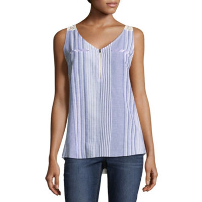 by&by Sleeveless V Neck Lawn Blouse-Juniors