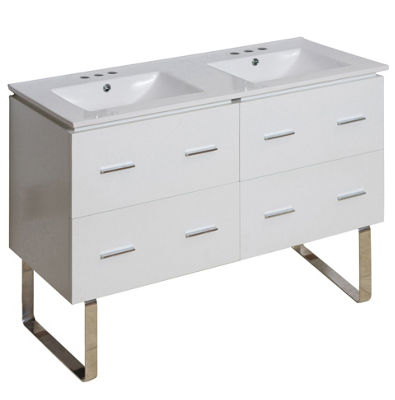 48-in. W Floor Mount White Vanity Set For 3H4-in.Drilling