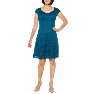 Liz Claiborne Cap Sleeve Lace Fit & Flare Dress