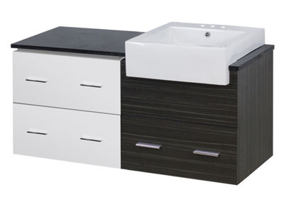 48.75-in. W Wall Mount White-Dawn Grey Vanity SetFor 3H4-in. Drilling Black Galaxy Top