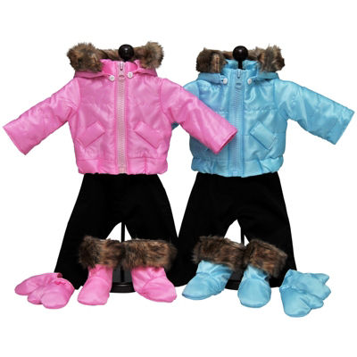 The Queen's Treasures 15 Inch Baby Doll Twin Pink&Blue Ski Clothes