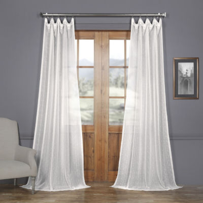 Exclusive Fabrics & Furnishing Montpellier Striped Faux Linen Sheer Rod-Pocket Curtain Panel