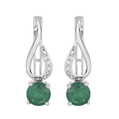 Diamond Accent Genuine Green Emerald 10K White Gold Drop Earrings
