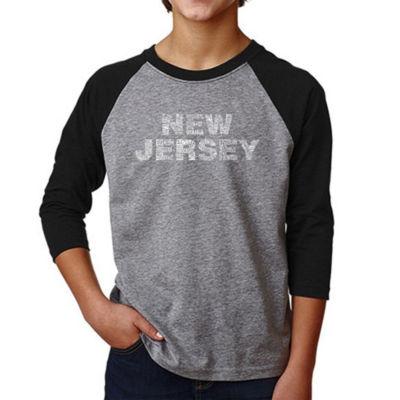 Los Angeles Pop Art Boy's Raglan Baseball Word Art T-shirt - NEW JERSEY NEIGHBORHOODS
