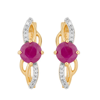 Diamond Accent Lead Glass-Filled Red Ruby 10K Gold Drop Earrings