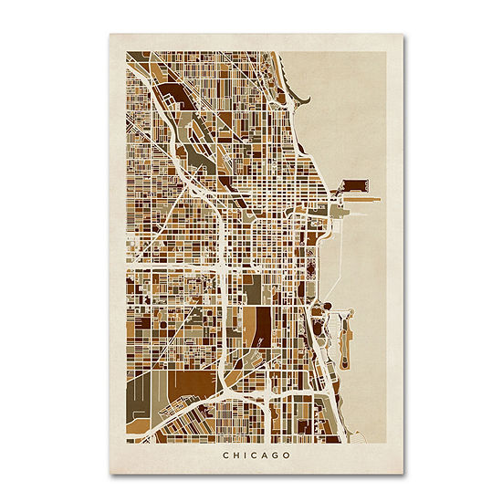 Trademark Fine Art Michael Tompsett Chicago City Street Map Giclee Canvas Art