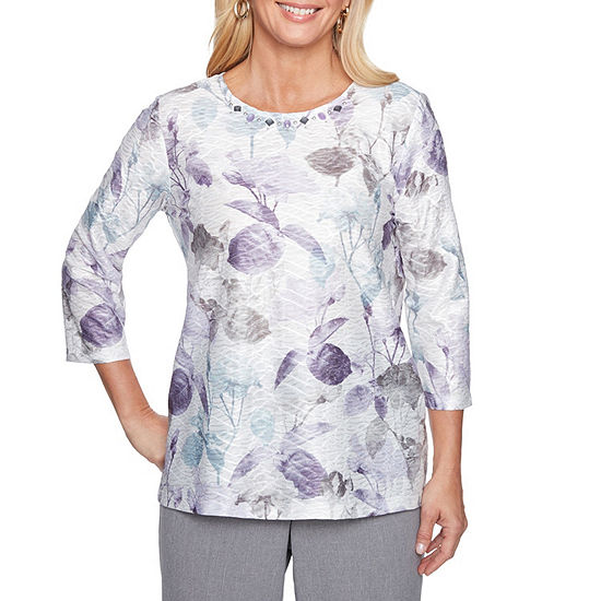 Alfred Dunner Smart Investments-Womens Crew Neck 3/4 Sleeve T-Shirt