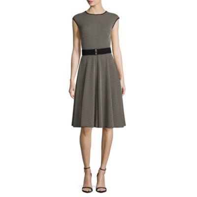 Danny & Nicole Sleeveless Dots A-Line Dress-Petite