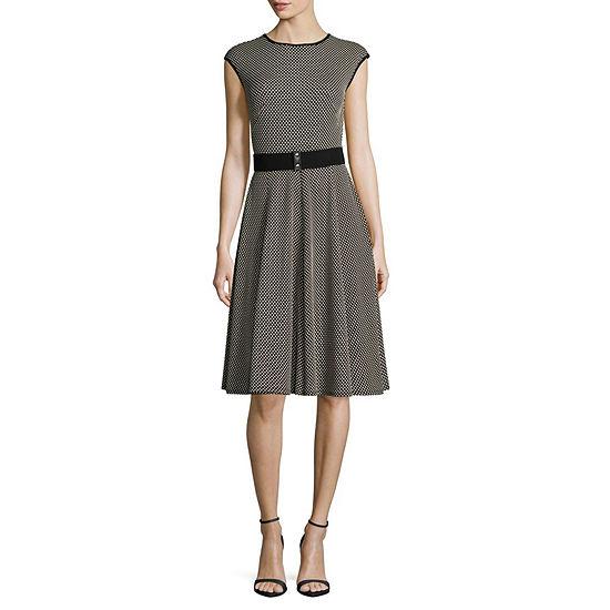 Danny & Nicole Sleeveless Dots Midi A-Line Dress-Petite