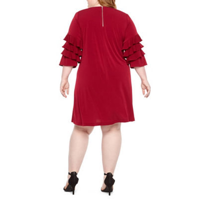 Danny & Nicole 3/4 Ruffle Sleeve Shift Dress - Plus