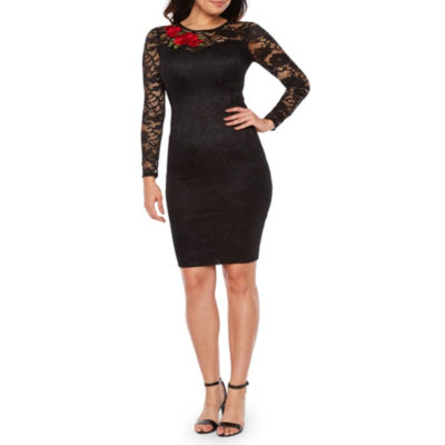 Premier Amour Long Sleeve Embroidered Sheath Dress