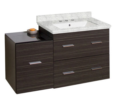 37.75-in. W Wall Mount Dawn Grey Vanity Set For 3H8-in. Drilling Bianca Carara Top White UM Sink