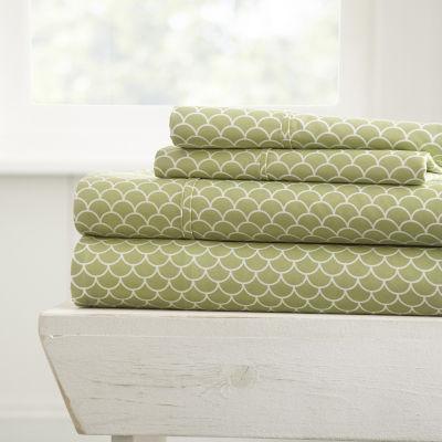 Casual Comfort Premium Ultra Soft Scallops Pattern 4 Piece Bed Sheet Set