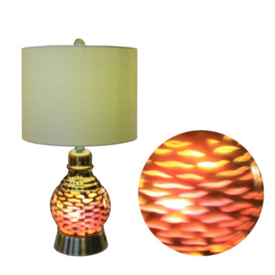 Fangio Lighting's #5134 22.5 inch Antique Brass Metal and Glass Table Lamp With 3D Wave Nightlight Design