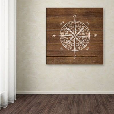Trademark Fine Art Stephanie Marrott Compass On Wood Giclee Canvas Art
