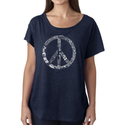 Los Angeles Pop Art Women's Loose Fit Dolman Cut Word Art Shirt - PEACE