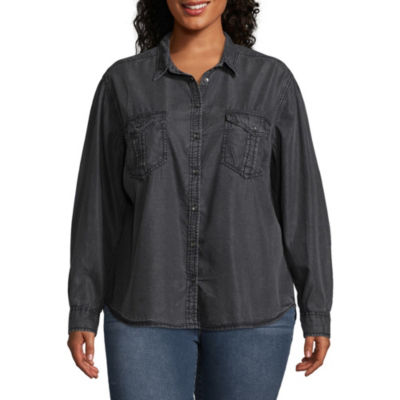 Arizona Long Sleeve Button-Front Shirt-Juniors Plus