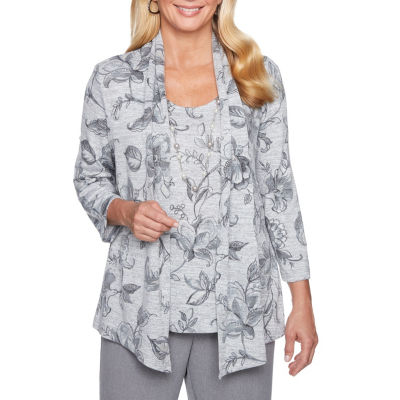Alfred Dunner Smart Investments 3/4 Sleeve Layered Top