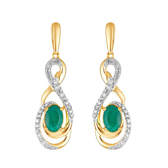 1/5 CT. T.W. Genuine Green Emerald 10K Gold Drop Earrings