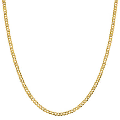 14K Gold 16 Inch Solid Curb Chain Necklace