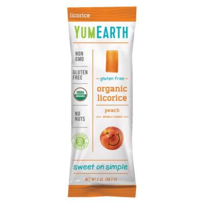 YumEarth Organic Gluten Free Peach Licorice - 2 oz- 12 Count