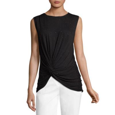 Worthington Sleeveless Crew Neck T-Shirt-Womens Petite