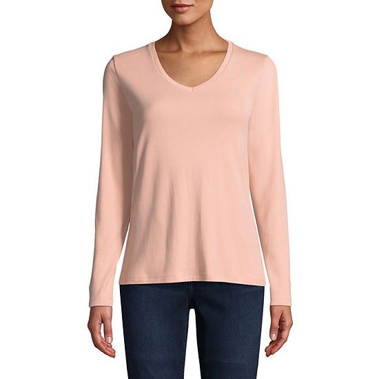 St. John s Bay-Womens V Neck Long Sleeve T-Shirt - JCPenney feb99c470