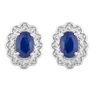1/8 CT. T.W. Genuine Blue Sapphire 10K White Gold 11mm Stud Earrings