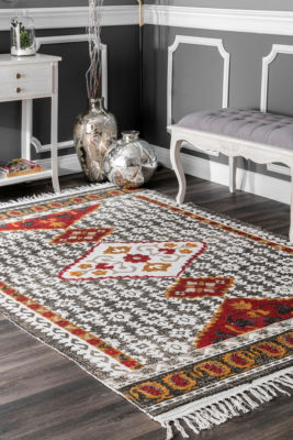 nuLoom Printed Tribal Laurena Tassel Woven Area Rug