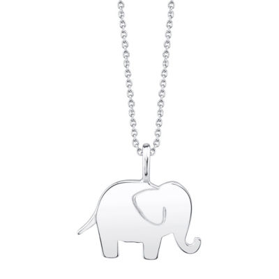 Footnotes Elephant Womens Sterling Silver Pendant Necklace