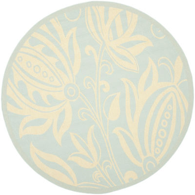Safavieh Courtyard Collection Tarek Floral Indoor/Outdoor Round Area Rug