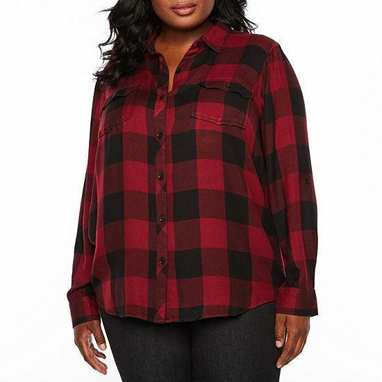 B+ 3/4 Sleeve Buffalo Plaid Shirting - Plus