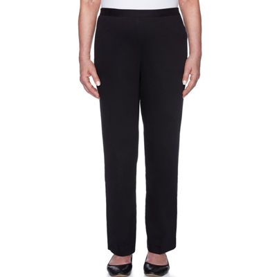 Alfred Dunner Travel Light Womens High Waisted Wide Leg Pull-On Pants