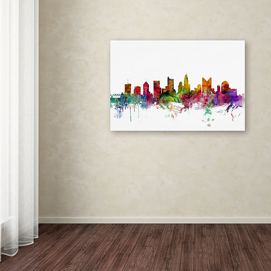 Trademark Fine Art Michael Tompsett Columbus OhioSkyline Giclee Canvas Art