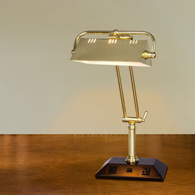 "Fangio Lighting's 24"" Adjustable Tech Table Lamp W/ 2 Base Outlets"