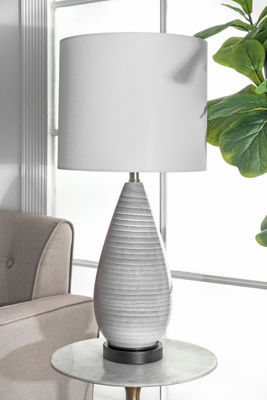 "Watch Hill 27"" Whitney Glass & Metal Linen Shade Table Lamp"