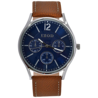 IZOD Mens Brown Strap Watch-Izo8042jc
