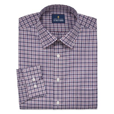 Stafford Travel Easy Care Stretch Broadcloth Long Sleeve Broadcloth Plaid Dress Shirt-Big And Tall