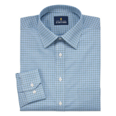 Stafford Travel Easy Care Stretch Broadcloth Long Sleeve Broadcloth Checked Dress Shirt-Big And Tall