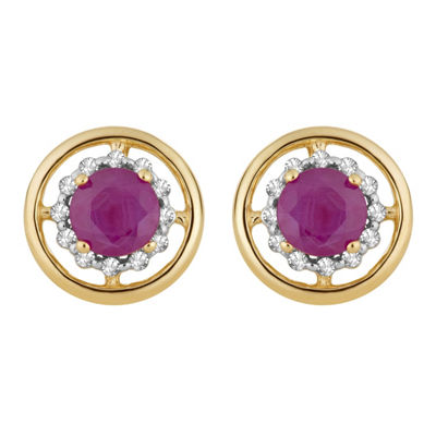 1/8 CT. T.W. Lead Glass-Filled Red Ruby 10K Gold 10.4mm Stud Earrings
