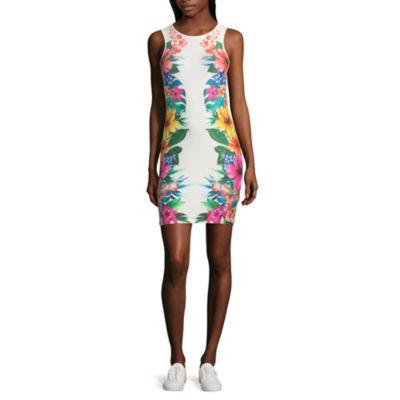 Derek Heart Sleeveless Floral Bodycon Dress-Juniors