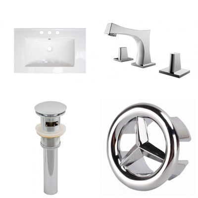 23.75-in. W 3H8-in. Ceramic Top Set In White Color- CUPC Faucet Incl.  - Overflow Drain Incl.