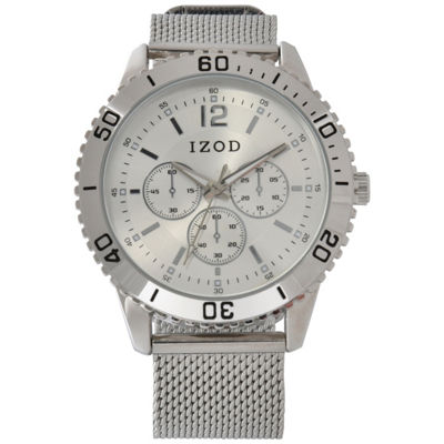 IZOD Mens Silver Tone Strap Watch-Izo5183jc