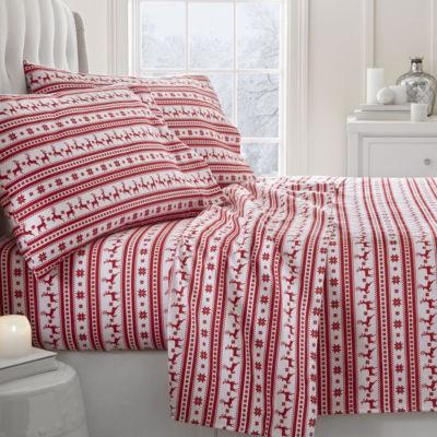 Casual Comfort Premium Reindeer Print 4 Piece Flannel Bed Sheet Set